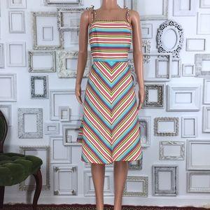 Vntg Yves Cossette Depeche Mode Multi Stripe Dress